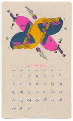 This calendar showcases Risograph printing through an exploration of overprinting, halftones, and fluorescent inks on craft paper. Jp King designed the mid-century-esque, utopian geometric graphics with two goals in mind: imagined depth on a two dimensional surface and accentuate the inherently retro feel of risography. The finished piece is a fine sample of what can be achieved with this printing method. — DUNCAN ROBERTSON