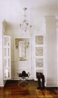 How I imagine CLOSET A ...this type of cabinet/drawer system on one side of wall  love this! and pretty and polished & neat looking since closet A is visible from dressing room and my bath.  SO functional for me!!