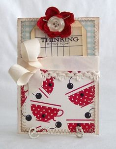 Thinking of You Today Handmade Card by lilybeanpaperie on Etsy