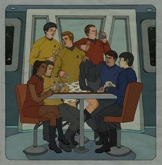 STXI - Pencil line work with digital coloring. November 2009. Dedicated to anon_j_anon, for the massive fic, Observations which inspired this drawing. Based on Chapter 115, Kirk and Spock enjoy a m...