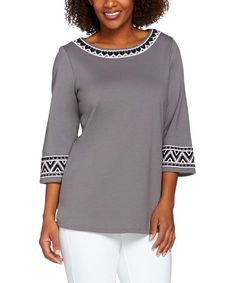 Gray Geometric-Trim Sequin Boatneck Top - Plus Too