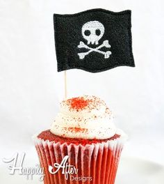 Pirate Flag Cupcake Toppers Embroidery Design