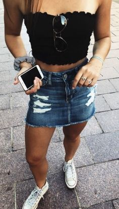 30bb60756d7 Back To School Hairstyles, Black Denim Skirt Outfit Summer, Outfits With  Jean Skirt,