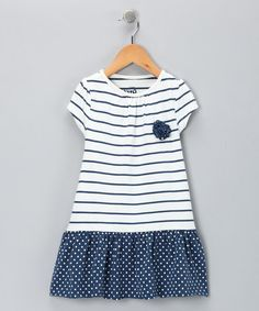navy polka dot girls dress