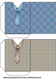 Brown and blue check shirt and tie pockets 2 on Craftsuprint designed by Stephen… Diy Paper, Paper Crafts, Printable Box, Printables, Envelope Pattern, Gift Wraping, Gift Envelope, Money Cards, Diy Gift Box