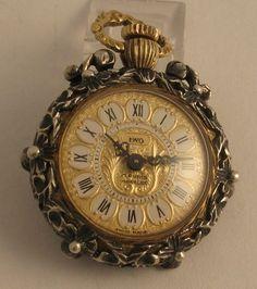 Antique Iwo Rose Diamond Ruby Enamel 18K 17J Pocket Pendant Swiss Watch