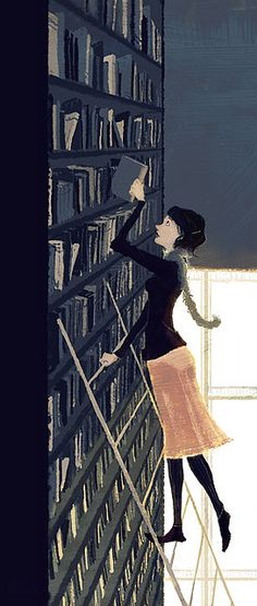 I want a library in my house where I have to climb a ladder to get to the top books. :)