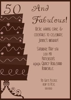 Items similar to Birthday Party Invitation - Adult on Etsy 50th Party, 40th Birthday Parties, Birthday Party Invitations, Birthday Ideas, Creative Invites, 50 And Fabulous, Rsvp, Photo Ideas, Handmade Gifts