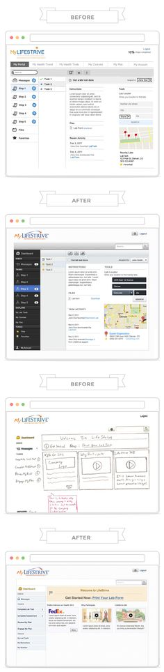 Before and after of a medical app that I designed with balsamiq wireframes and then skinned in Photoshop as a freelance designer.