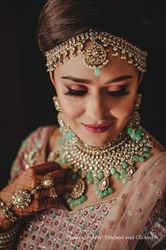 #rosegoldeye #wingedliner #bridalmakeup #bridallook #indianbride #bridetobe #bridalmakeover Golden Bridal Lehenga, Pink Bridal Lehenga, Indian Bridal, Bridal Looks, Bridal Make Up, Blush Skirt, Bridal Wardrobe, Soft Smokey Eye, Open Hairstyles