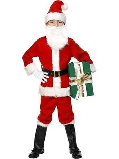 BOYS SANTA SUIT WITH BEARD /& HAT FATHER CHRISTMAS FANCY DRESS CHILD COSTUME 4-12