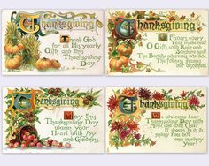 (Free) Vintage Thanksgiving postcards ~ beautiful set!