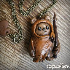 Ewok Polymer Clay Necklace by rapscalliondesign on Etsy, $25.67