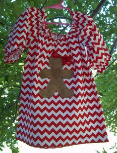 Christmas Dress - Red/White Chevron Gingerbread or Corduroy Christmas Tree. $35.00, via Etsy.