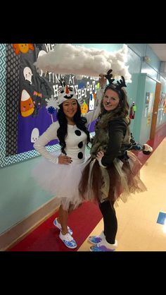 Olaf and Sven from frozen. Fit costume. Teacher dress up day. Check out kristoff on the back ;)