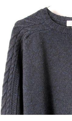 L'Envers pull tressé Jane & Serge vert-----#lenvers #pull #sweater #vert #blue #green #bleu #laine #wool #tressé #braided #handmade