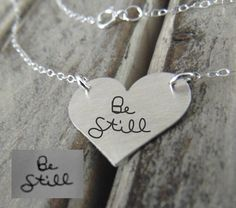 """Hot Item! """"Be Still My Heart"""" Handwritten Silver Heart Pendant - Actual Handwriting or Font Text - Perfect For Layering -Jewelry For Her - Sterling Silver Jewelry,Classic by VintageBrandingCo on Etsy"""