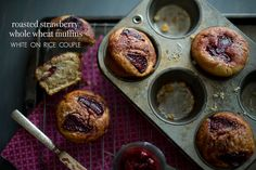 Roasted Strawberry Whole Wheat Muffins. Try it with aroniaberries, we loved it ;)