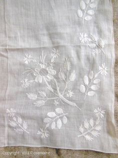 Chain stitch embroidered muslin Fichu | Villa Rosemaine
