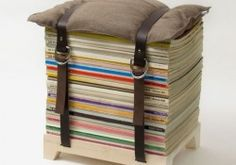 Architecture, Inspiring DIY Chair From Books Stack, The Book Colors Are Yellow, White, Grey, Pink, Blue, Red,  Purple, Cream, Green, On Top Of Wooden Support Chair And Brown Pillow On The Top Wrapped With Two Brown Leather Belt: Inspiring New Trends In Interior Design In 2014