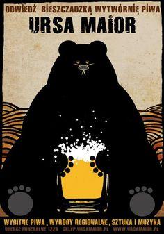 Ursa Maior, Polish Beer Promo Poster by Ryszard Kaja Beer Poster, Poster Ads, Advertising Poster, Vintage Travel Posters, Vintage Ads, Sous Bock, Polish Posters, Graphisches Design, Kaja