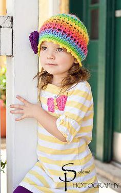 Rainbow Purple Daisy Bohemian Slouch Hat for Little Girls $28