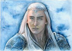 Original painting  The King of the elves blue portrait