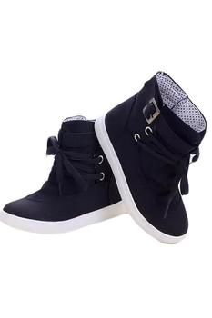 0d60a6ceb Hang-Qiao Women Canvas Shoes Lace-Up Ankle Boots Flat Sneakers Black Rubber  Shoes