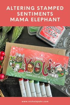Happy Monday and welcome to a new week! Today I am sharing a mini slimline Christmas card featuring an idea on how to alter a stamped sentiment with some stamped and colored Merrygrams letters!