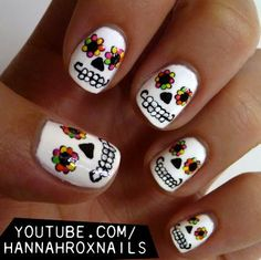 If you're not all about goblins and ghouls, try more lively (pun intended) nail art. We love this Day of the Dead nail design by Hannah Rox It. Not only can you use it during the Halloween season, but you also can rock it during Mardi Gras. Skull Nail Art, Skull Nails, Toe Nail Art, Halloween Nail Designs, Halloween Nail Art, Cute Nail Designs, Halloween Toes, Holiday Nail Designs, Halloween Halloween