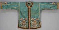 China, Mandarin style lady's jacket, seafoam raw silk with kossu weave decoration of dragons and exotic birds, 20th c