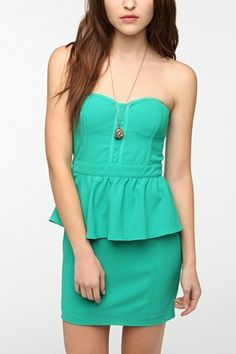 Pins and Needles Strapless Peplum Dress - Urban Outfitters