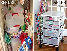 Wrap Organizer Cart with Colorful DIY Drawer Labels Gift Wrap Organizer Cart with DIY Drawer Labels Good Tutorials, Craft Tutorials, Drawer Labels, Diy Drawers, Small Storage, Food Storage, Diy Craft Projects, Project Ideas, Diy Crafts