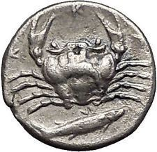 AKRAGAS in SICILY 420BC Eagle Hare Crab Fish Silver Greek Coin RARE R1 i56261 https://trustedmedievalcoins.wordpress.com/2016/06/23/akragas-in-sicily-420bc-eagle-hare-crab-fish-silver-greek-coin-rare-r1-i56261/
