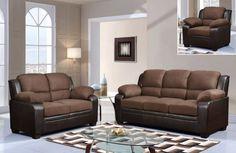 U880018KD Series Contemporary Chocolate Microfiber Living Room Set
