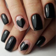 nail art designs black | simple | nailart | acrylic | heart | gel | polish