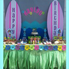 Idea de mantel Lilo and Stich Birthday Party Aloha Party, Moana Birthday Party, Hawaiian Birthday, Moana Party, 18th Birthday Party, Luau Party, Birthday Party Themes, Beach Party, Birthday Ideas