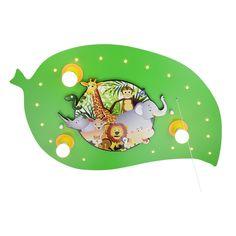 LED Schlummerlicht Blatt Dschungelbild grün 3er Deckenlampe elobra 125878 Deckenlampen