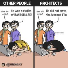 Webcomic collective Leewardists create hilarious drawings that illustrate how an architect experiences everyday life. The drawings brilliantly capture the trained analytical mind of an architect, as well as the daily frustrations of the job. Architecture Memes, Architecture Collage, Architecture Design, Funny Webcomics, Web Comic, Daily Fun Facts, Architect Jobs, Funny Baby Memes, Funny Quotes