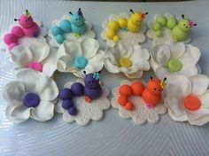 edible cupcake toppers caterpillar garden  theme. $18.00, via Etsy.