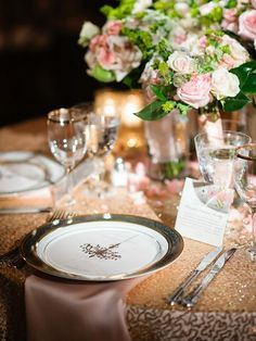 Glitz and glam abound with traditional gold #sequin #wedding linen. #sparkleandshine