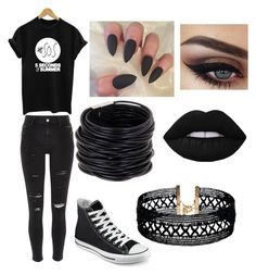 """""""Cute emoish outfit"""" by brookebrown5790 ❤ liked on Polyvore featuring River Island, Converse, Saachi, Lime Crime and Vanessa Mooney"""