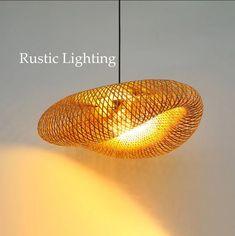 Wicker BAMBOO PENDANT LIGHT Rustic Lighting Fixtures | Etsy Bamboo Pendant Light, Rustic Pendant Lighting, Rustic Light Fixtures, Chandelier Lamp, Pendant Lamp, Bedroom Lampshade, Wicker Lamp Shade, Line Design, Handmade Decorations