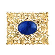 Buccellati Cabochon Sapphire Lacy Gold Brooch | From a unique collection of vintage brooches at https://www.1stdibs.com/jewelry/brooches/brooches/