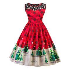 Cool Great Women Plus Size Christmas Vintage Ball Dress Lace XMAS Snow Ladies Swing Dress 2017 2018