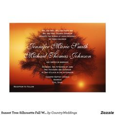 Shop Sunset Tree Silhouette Fall Wedding Invitations created by CountryWeddings. Country Wedding Cakes, Country Wedding Invitations, Wedding Invitation Templates, Custom Invitations, Invites, Oak Tree Wedding, Our Wedding, Dream Wedding, Wedding Ideas