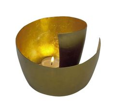 Metal Gold Two Tone Swirl Candle Holder
