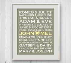 If you know a book-loving couple, give them a personalized Literary Couples print! :) I know I want one! :D
