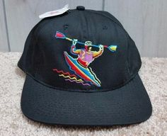 Kayak Hat Baseball Cap Champion Embroidered Black Made In USA Adjustable NWT…