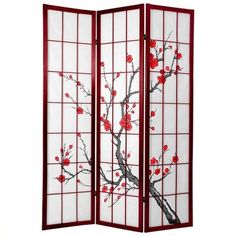 Oriental Furniture 6 ' Tall Cherry Blossom Shoji Screen ($354) ❤ liked on Polyvore featuring home, home decor, panel screens, oriental folding screen, asian home decor, asian inspired home decor, asian room dividers and flower stem